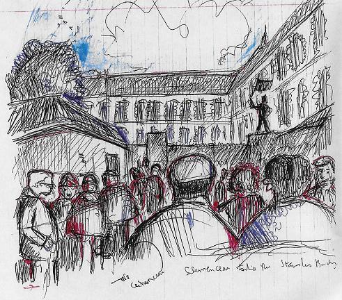 Le piquet de grève, le matin, à l'heure de la rentrée, rue Stanislas Baudry.