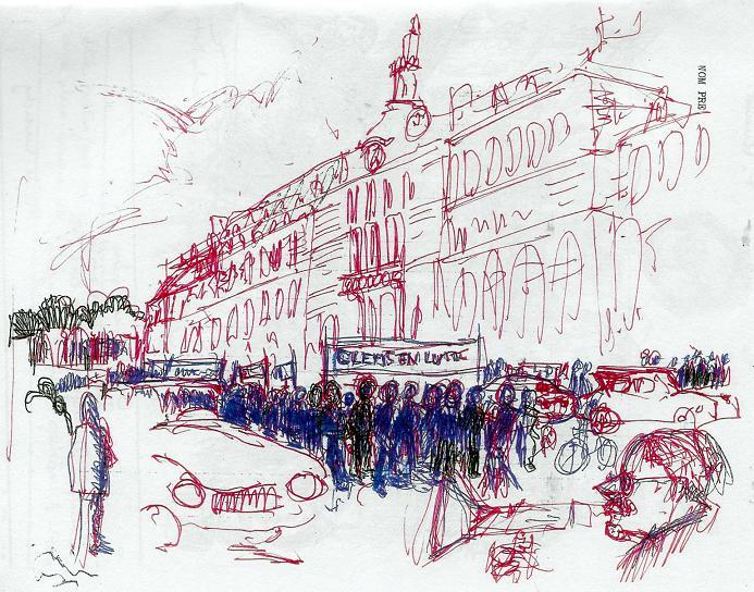 Rue Clemenceau devant le lycée